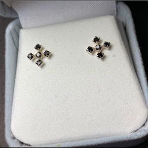 Onyx and Sterling Stud Cross Earrings, New